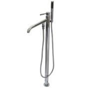 Kingston Brass Concord Single Handle Pillar Roman Tub Filler with Telephone Shower Set - Polished Chrome