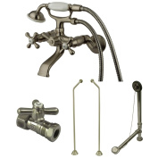 Kingston Brass Vintage Wall Mount Clawfoot Tub Faucet Package with Offset Supply Lines in Satin Nickel - Satin Nickel