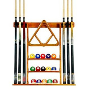6 Pool Cue - Billiard Stick Wall Rack Made of Wood, Oak Finish