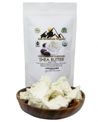 Raw Organic Shea Butter Ivory by Sun Mountain Organic - 1lb470ml - Highest quality from Ghana Africa. Pure, for Dry Skin, Eczema, Acne, Stretch Marks, Hair Cream, Baby Rash