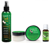 Coconut Oil Teeth Cleaning Natural Oral Care Kit - Toothpaste - Tooth Spray - Tooth Oil