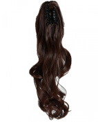 46cm Medium Brown Long Wave Curly Claw Ponytails Clip on Ponytail Hair Extensions Hairpiece Pony Tail Extension for Girl Lady Women