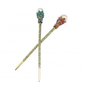 Yueton® Pack of 2 Rhinestone Pearl Hair Stick Vintage Hair Chopsticks Hairpin Chignon Pin