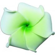 Foam Flower Medium Hair Clip Plumeria White With Green