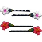 Fimo Hair Flower Mini Bobby Pin Set of 4 Plumeria White with Pink & Pink