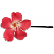 Fimo Hair Flower Large Bobby Pin Plumeria Red