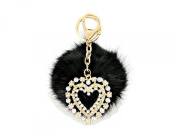 Crystal Heart & Rabbit Fur Pom Pom Key Chain / Bag Charm