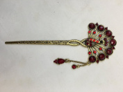 Gorgeous Vintage Jewellery Crystal Hair Sticks Hair Pins Shawl Pins Peacock Design with Tassels - Ruby Colour -For Hair Beauty Tools