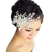 BININBOX Crystal Pearl & Rhinestone Headpiece Bridal Wedding Party Hair Comb