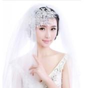 BININBOX Bride Crystal Pearl Lace Fascinator Headpiece Wedding Party Hair Jewellery