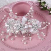 BININBOX Bride Crystal Pearl Lace Headpiece Wedding Prom Comb Hair Jewellery