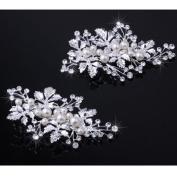 BININBOX Crystal Pearl Hair Jewellery Fascinator Wedding Hair Accessory Ivory/Gold
