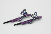Crispy Collection Multi Design Flower Hair Pin with Rhinestone Selection 2 Pack