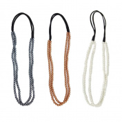 Yueton Pack of 3 Fashion Women's Elastic 2 Layer Pearl Hair Band Headband Princess Style Hair Hoop Hair Accessories
