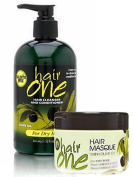 Hair One Cleanser & Conditioner w/ Olive Oil for Dry Hair 350ml & 240ml Hair Masque Combo