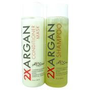 2XArgan Infusing Conditioner Mask & Nourishing Shampoo by Strands 12 oz /354 ml