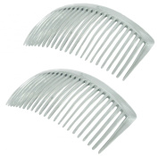 Parcelona French Pair of Clear Crystal Colour Large Glossy Cellulose Acetate Good Grip Updo 23 Teeth Hair Side Combs - 11cm