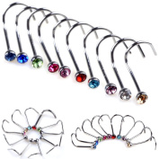 Oasis Plus 20pcs Colourful Crystal 316L Surgical Steel 18G Nose Ring Stud Bone Bar Body Piercing Jewellery
