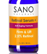Retinol Firming, Anti Ageing, Anti Wrinkle Face Serum With 2.5% Retinol-A and Hyaluronic Acid - Shrinks Pores and Evens Skin Tone - Organic & Vegan, Use Day or Night.
