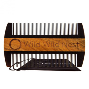 Beard Comb Pocket-size - Buffalo Horn and Sandalwood - No Static or Snagging - Handmade for Beard and Moustache, 100% Natural, for Long and Short Hair - Premium Quality
