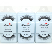 3 Pairs AmorUs 100% Human Hair False Eyelashes # 47 compare Red Cherry + Free Earring