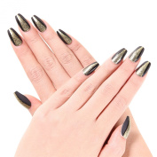 Ejiubas 24 Pcs Matte Black with Glitter Full Cover Squaletto Talone Medium False Nail Tips with 1pcs Glue for Free