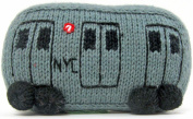 Estella Baby Rattle Toy in Shape of a Subway Train, Hand-Knit Soft Infant Toy, Grey