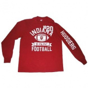 "Indiana Hoosiers Cotton Exchange Red White-Faded-Logo ""Football"" LS T-Shirt"