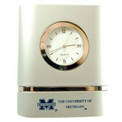 Michigan Wolverines Brushed Silver Desk Clock