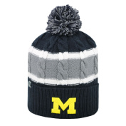Michigan Wolverines TOW YOUTH Navy Striped Cable Windy Cuffed Beanie Hat Cap