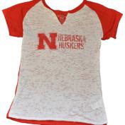 Nebraska Cornhuskers Blue 84 Womens Ripped V-Neck Contrast White T-Shirt