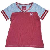 Nebraska Cornhuskers Antigua Red Grey Womens V-Neck Rhinestone T-Shirt