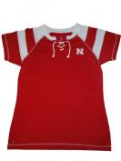 Nebraska Cornhuskers Women Red White Striped Tie Neck T-Shirt
