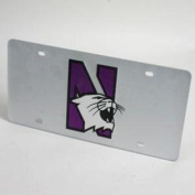 """Northwestern Wildcats """"N"""" Licence Plate - Silver"""
