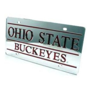 Ohio State Buckeyes Inlaid Acrylic Licence Plate - Silver Mirror Background