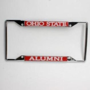Ohio State Buckeyes Alumni Metal Licence Plate Frame W/domed Insert - Red Background
