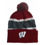 Wisconsin Badgers TOW YOUTH Red Striped Cable Windy Cuff Beanie Hat Cap