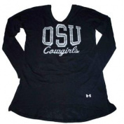 Oklahoma State Cowboys UA Women Black V-Neck Heat Gear LS Shirt