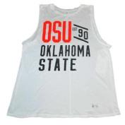 Oklahoma State Cowboys UA Women White Loose Heat Gear Tank Top