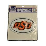 Oklahoma State Cowboys SDS Design Oval Text Logo Design White Magnet 15cm x 10cm