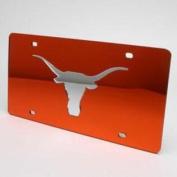 Texas Longhorns Inlaid Acrylic Licence Plate - Orange Mirror Background