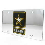Army Black Knights Inlaid Acrylic Licence Plate - Silver