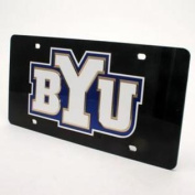 Byu Cougars Inlaid Acrylic Licence Plate - Black Background