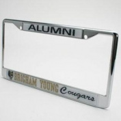 Byu Cougars Alumni Metal Licence Plate Frame W/domed Insert - White Background