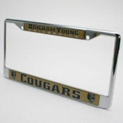 Byu Cougars Metal Licence Plate Frame W/domed Insert - Gold Background