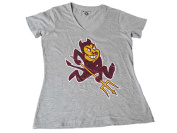 Arizona State Sun Devils Champion Women Grey Maroon Gold V-Neck T-Shirt