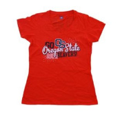 Oregon State Beavers Champion Women Orange with Silver Studs Fitted T-Shirt