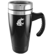 Washington State Cougars Engraved 470ml Stainless Steel Travel Mug - Black