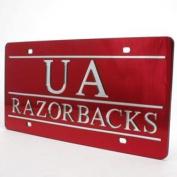 "Arkansas Razorbacks Inlaid Acrylic Licence Plate - ""ua Razorbacks"" Red"