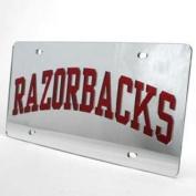 "Arkansas Razorbacks Inlaid Acrylic Licence Plate - ""razorbacks"" Silver"